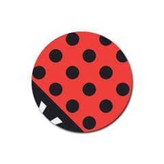Abstract Bug Cubism Flat Insect Rubber Coaster (Round)