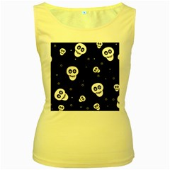 Skull Pattern Women s Yellow Tank Top