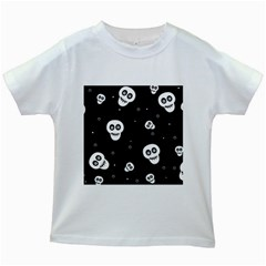 Skull Pattern Kids White T-Shirts