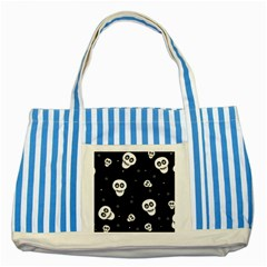 Skull Pattern Striped Blue Tote Bag