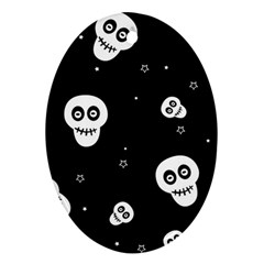 Skull Pattern Oval Ornament (Two Sides)