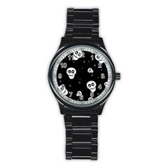 Skull Pattern Stainless Steel Round Watch