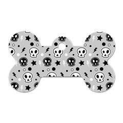Skull Pattern Dog Tag Bone (One Side)
