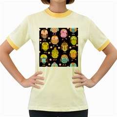 Cute Owls Pattern Women s Fitted Ringer T-Shirts