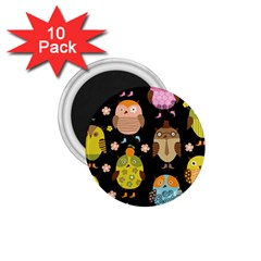 Cute Owls Pattern 1.75  Magnets (10 pack)