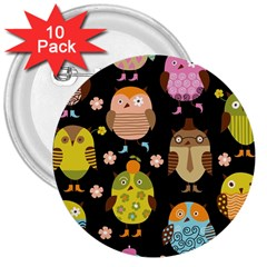 Cute Owls Pattern 3  Buttons (10 pack)