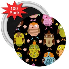 Cute Owls Pattern 3  Magnets (100 pack)