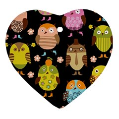 Cute Owls Pattern Heart Ornament (Two Sides)