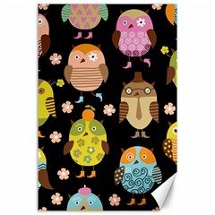 Cute Owls Pattern Canvas 24  x 36