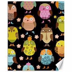 Cute Owls Pattern Canvas 11  x 14