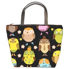 Cute Owls Pattern Bucket Bags