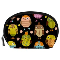 Cute Owls Pattern Accessory Pouches (Large)