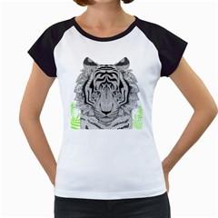 Tiger Head Women s Cap Sleeve T