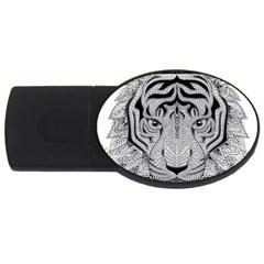 Tiger Head USB Flash Drive Oval (1 GB)