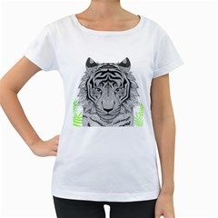 Tiger Head Women s Loose-Fit T-Shirt (White)