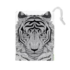 Tiger Head Drawstring Pouches (Large)