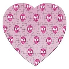 Alien Pattern Pink Jigsaw Puzzle (Heart)