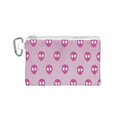 Alien Pattern Pink Canvas Cosmetic Bag (S)
