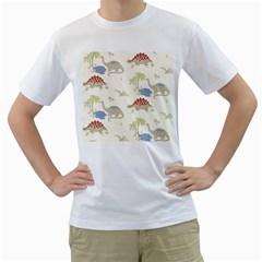 Dinosaur Art Pattern Men s T-Shirt (White) (Two Sided)