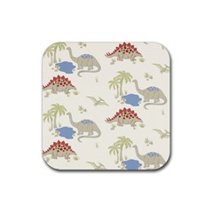 Dinosaur Art Pattern Rubber Square Coaster (4 pack)