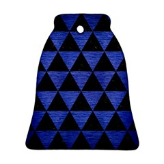 Triangle3 Black Marble & Blue Brushed Metal Ornament (bell)