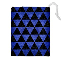 Triangle3 Black Marble & Blue Brushed Metal Drawstring Pouch (xxl)
