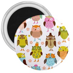 Cute Owls Pattern 3  Magnets