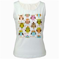 Cute Owls Pattern Women s White Tank Top