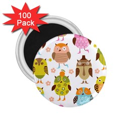 Cute Owls Pattern 2.25  Magnets (100 pack)