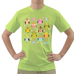 Cute Owls Pattern Green T-Shirt