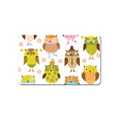 Cute Owls Pattern Magnet (Name Card)