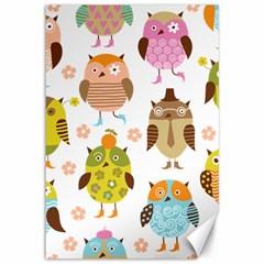Cute Owls Pattern Canvas 12  x 18