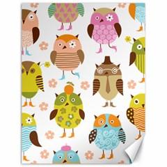 Cute Owls Pattern Canvas 18  x 24