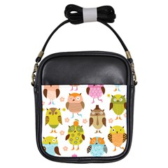 Cute Owls Pattern Girls Sling Bags