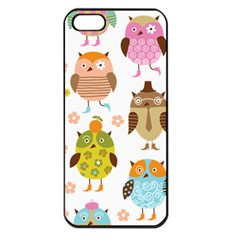 Cute Owls Pattern Apple iPhone 5 Seamless Case (Black)