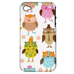 Cute Owls Pattern Apple iPhone 4/4S Hardshell Case (PC+Silicone)