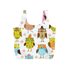 Cute Owls Pattern Full Print Recycle Bags (S)