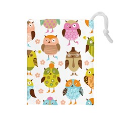 Cute Owls Pattern Drawstring Pouches (Large)