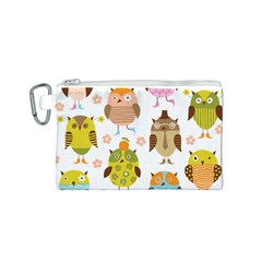 Cute Owls Pattern Canvas Cosmetic Bag (S)