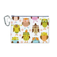 Cute Owls Pattern Canvas Cosmetic Bag (M)