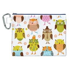 Cute Owls Pattern Canvas Cosmetic Bag (XXL)