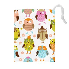 Cute Owls Pattern Drawstring Pouches (Extra Large)
