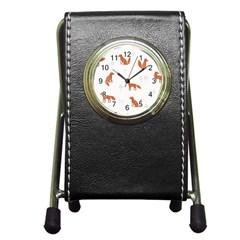 Fox Animal Wild Pattern Pen Holder Desk Clocks