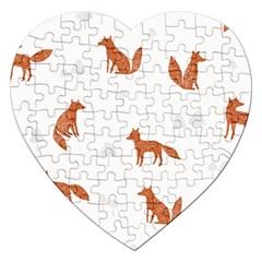 Fox Animal Wild Pattern Jigsaw Puzzle (Heart)