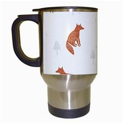 Fox Animal Wild Pattern Travel Mugs (White)