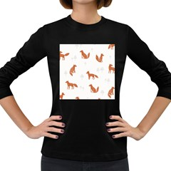 Fox Animal Wild Pattern Women s Long Sleeve Dark T-Shirts
