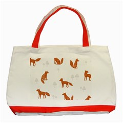 Fox Animal Wild Pattern Classic Tote Bag (Red)