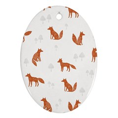 Fox Animal Wild Pattern Oval Ornament (Two Sides)