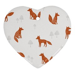Fox Animal Wild Pattern Heart Ornament (Two Sides)