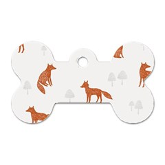Fox Animal Wild Pattern Dog Tag Bone (One Side)